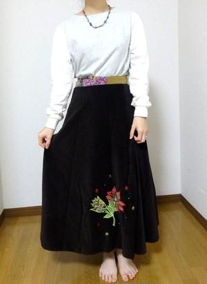 EMS-011BR ベルベット刺繍×シルク巻きスカート 茶色