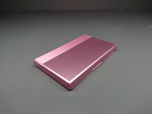 アルミニウム製名刺カードケース ピンク色