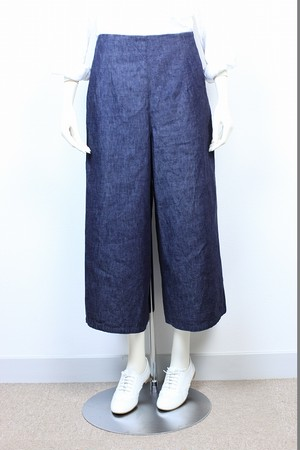 【SAMPLE SALE 50%OFF】Wide Pants ムラ糸Denim for Ladies 品番:47109 col.27 Indigo