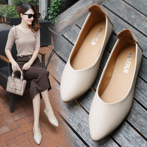【pumps】 2018 new Korean  pointed-toe soft  casual comfort low heel pumps