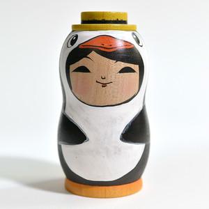 ペンギンちゃんこけし(帽子) 約3寸 約9.6cm 阿保正文 工人(津軽系)#0003