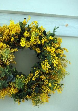 Wreath mimosa et eucalyptus(ミモザとユーカリのリース)