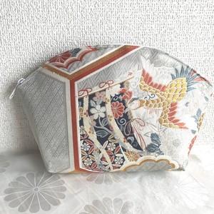 佐賀錦プラチナ箔唐織帯のクラッチ