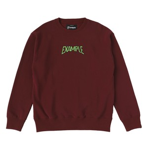 S.W CREW NECK / BURGUNDY x LIGHT GREEN