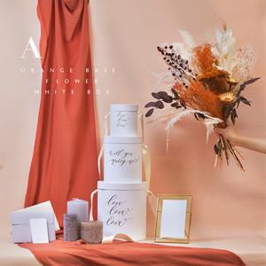 [A]オレンジベースフラワー&ホワイトBOX|ウェルカムスペース   メッセージボックスDIYセット