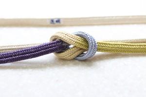 冠組 両手先段 紫・薄黄〈帯締め〉