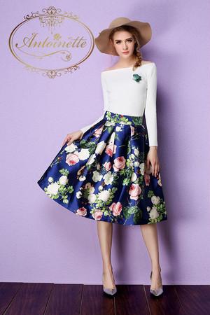 2色展開 秋服 レディース 秋 秋色探し スカート エレガント 花柄 フラワー flower 花柄スカート