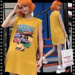即納 Tシャツ レディース ノースリーブ トップス カットソー ロング プリント オーバーサイズ ビッグシルエット ゆったり 黄