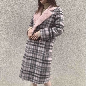 check fur long coat (A18-6012K)