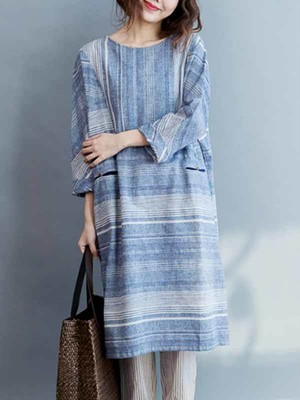 【dress】Round neck cotton loose casual dress