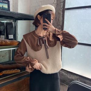 【セットアップ】キュート折り襟リボンシャツ+ノースリーブベスト二点セット