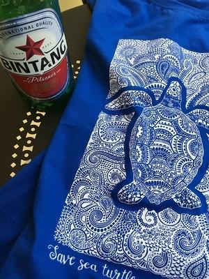 ロンボク Tシャツ save the sea turtle 2019 blue
