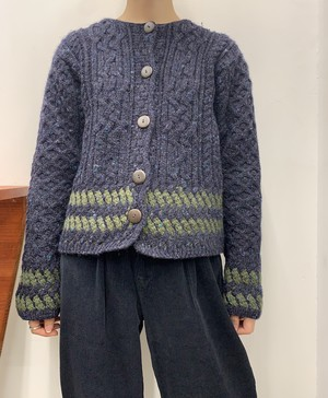 MADE IN IRELAND Carraig Donn fisherman wool knit cardigan 【S】