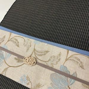 花唐草刺繍帯(生成り地)