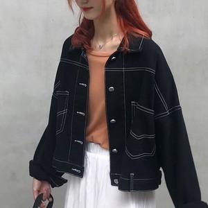 【アウター】デニム無地折り襟長袖カジュアル普通タイプジャケット