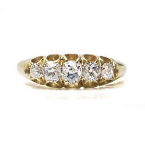 Victorian Old mine-cut Diamond Half Hoop Ring