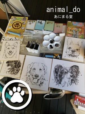 ペット似顔絵制作 大色紙サイズ 一頭制作