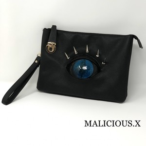 devil reptelis eye shoulder clutch bag / blue