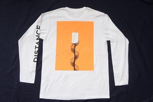 DISTANCE L/S Tee(Body:White, Back Print:Fluorescent Orange)