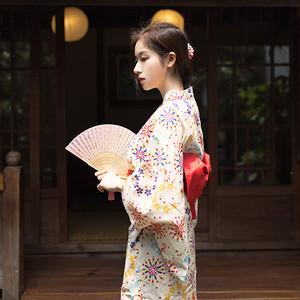 【浴衣】おすすめファッション知的シンプルVネックプリント花柄浴衣