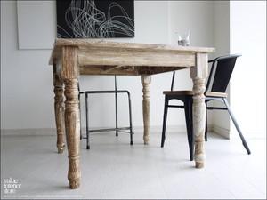 手作り オールドチークカフェテーブルLWW ダイニングテーブル デスク 机 天然木 木製 ナチュラル 銘木 総無垢 幅90cm × 奥行き90cm(約)