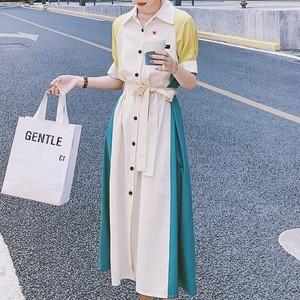 【ワンピース】絶対欲しいレトロ切り替え配色デートワンピース47699758