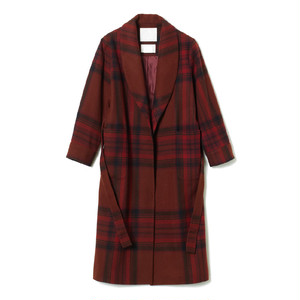 White mountaineering / MELTON TARTAN CHECK COAT [BURGUNDY]