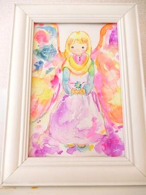 008*水彩原画* 青い花をもつ天使