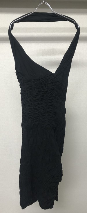 SS1990 COMME DES GARCONS GATHERED OPEN BACK DRESS