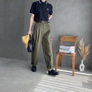 high waist tuck chino 【khaki】【unisex】