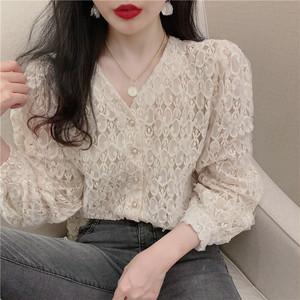 【トップス】春新作ファッション合わせやすいVネック透かし彫り着瘦せフェミニンシャツ