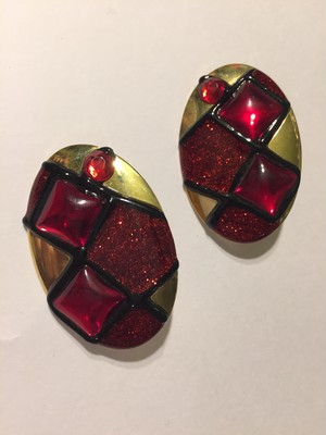 Vintage handpaint gold × red × black earrings ( ヴィンテージ  ハンドペイント イヤリング )