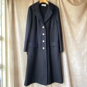 1960-70s USA vintage black long coat /レトロブラックの薄手ロングコート