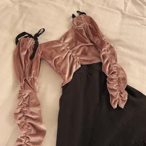 shirring tops(Dark pink)