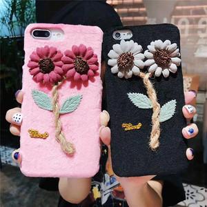 ハンドメイド風 3D フラワー iPhone シェルカバー ケース ( ブラック グレー レッド ピンク ) ★ iPhone 6 / 6s / 6Plus / 6sPlus / 7 / 7Plus  / 8 / 8Plus / X ★ [NW575]