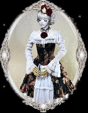 バスク コルセットスカート Ⅲ (薔薇プリント)