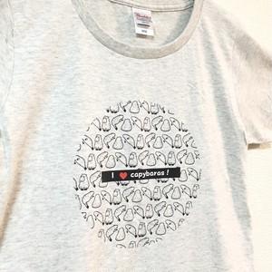 【レディス】ゆる~いカピバラの大群Tシャツ オートミール