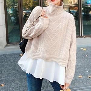 Turtleneck Sweater w/Short Blouse T599