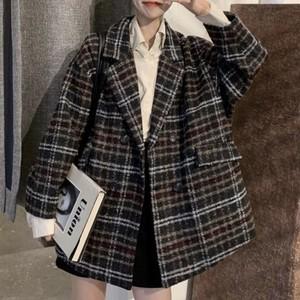 wool oversize check coat ZR2386