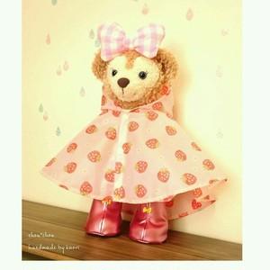 シェリーメイ・ステラルー兼用で♡レインポンチョ&長靴セット*イチゴ柄×フード付き*雨や濡れるショーにぴったり♪