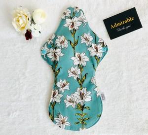 ユリ柄グリーン♡韓国オーガニックコットンの布ナプキン Lサイズ