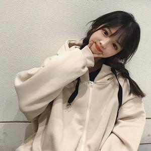 【アウター】カジュアルプリント秋冬膝上フード付き長袖ジャケット
