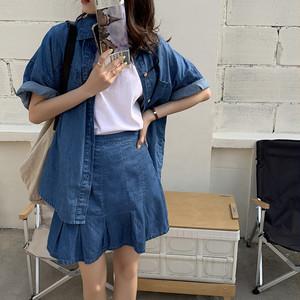ルーズデニム 半袖シャツ+ミニスカート S3817