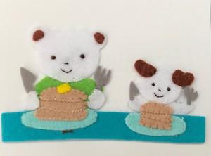 くまとパンケーキ 1  アイロンアップリケ中サイズ