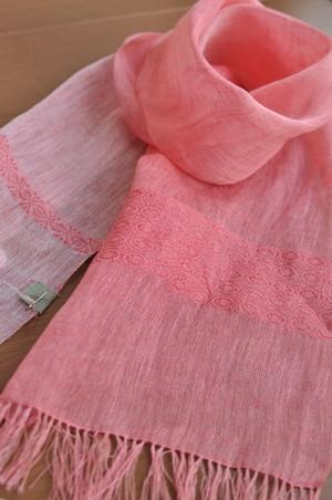 手織りリネンスカーフ ~かわいい花~