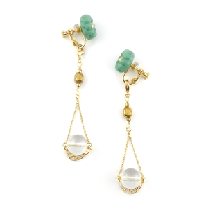 "【2way】 flower glass_vintage_earrings ""mint×pure ice"""