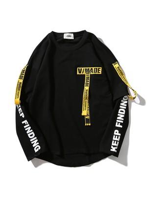 【即日出荷】WARNING LAVEL ロングTシャツ トレーナー トップス モノトーン メンズ ユニセックス