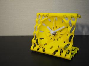 アートなデザイン置き時計(イエロー)