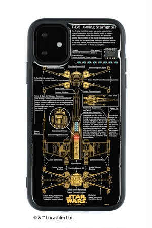 FLASH X-WING 基板アート iPhone 11 ケース  黒【東京回路線図A5クリアファイルをプレゼント】