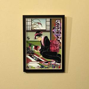すとり〜と百景『ぐらふぃてぃ娘』浮世絵額装(A4サイズ)